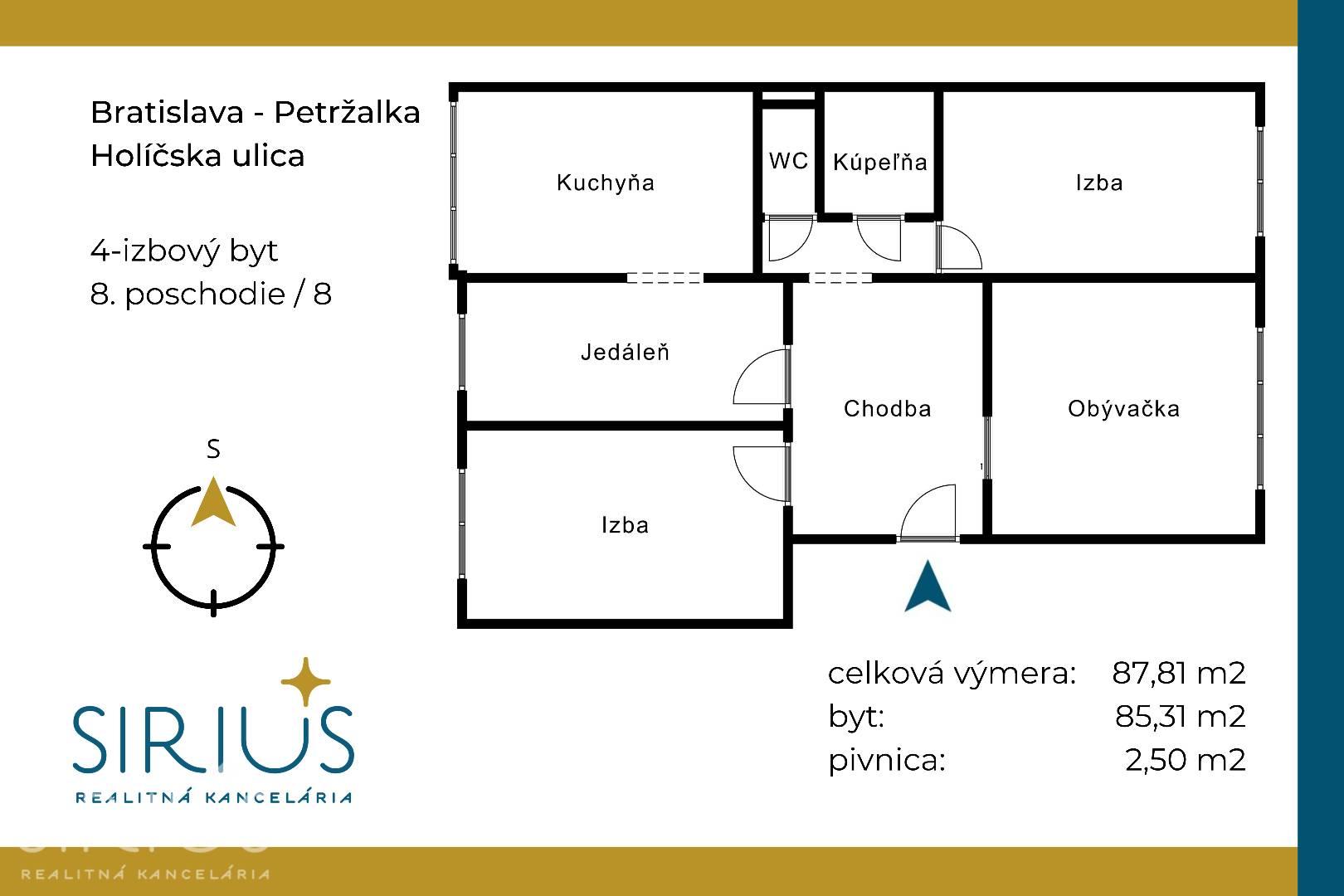 HOLÍČSKA, 4-i byt, 88 m2 – zrekonštruovaný byt, ideálny PRE RODINU