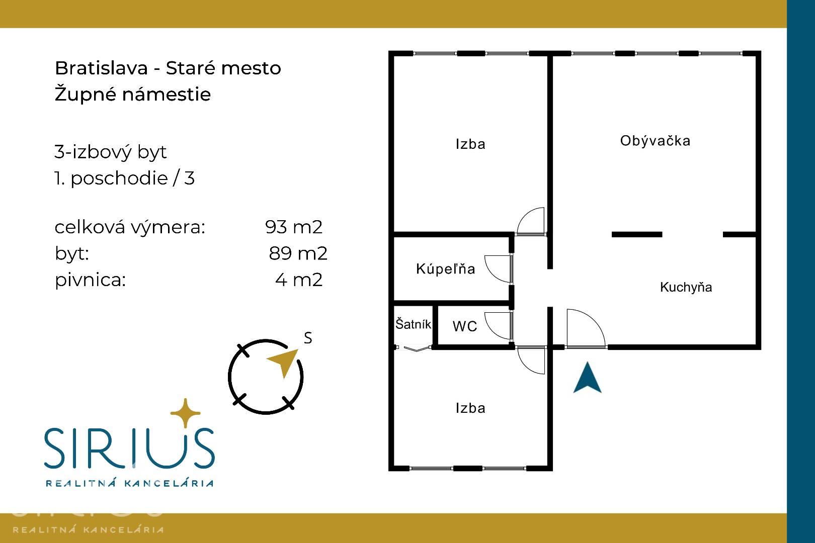 ŽUPNÉ NÁMESTIE, 3-i byt, 93 m2 – v úplnom CENTRE STARÉHO MESTA