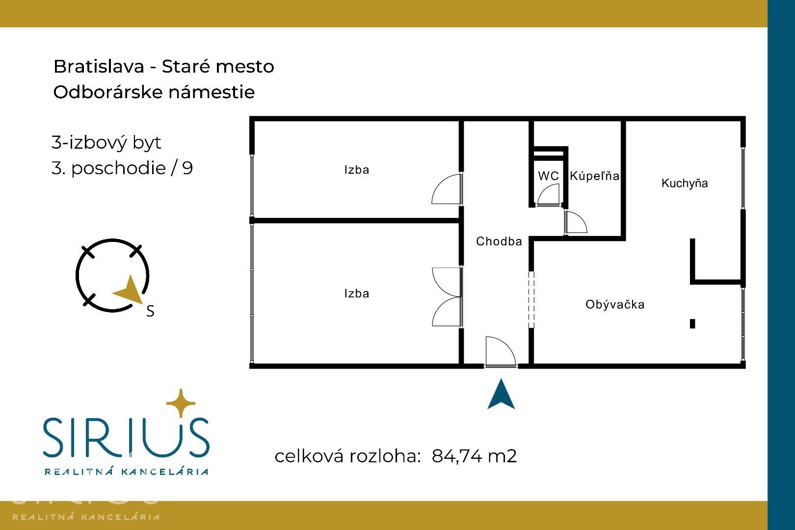 ODBORÁRSKE NÁMESTIE , 3-i byt, 85 m2 – kompletne zariadený byt