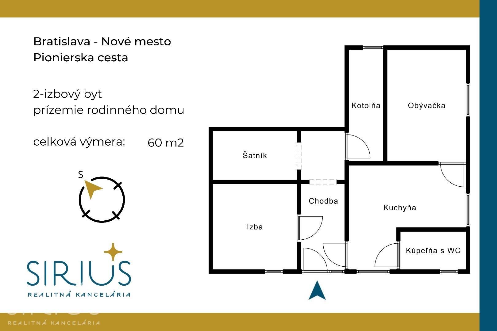 PIONIERSKA, 2-i byt, 60 m2 – tehlový zariadený byt v rodinnom dome